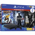 Console Playstation 4 PS4 Slim 1 Tb Black F Chassis + Ratchet & Clank + The Last Of Us + Uncharted 4