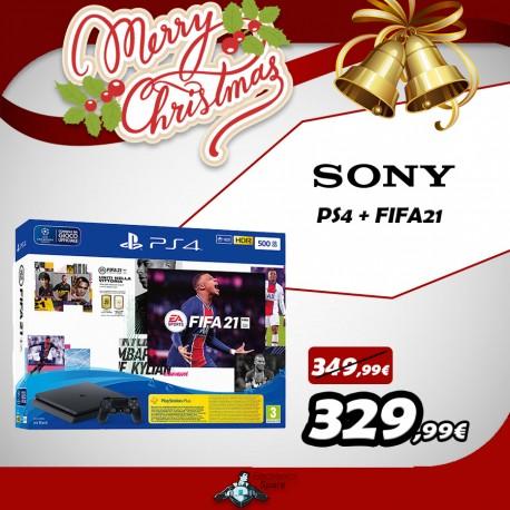 PS4 console 500GB CHASSIS slim black + FIFA21 + FUT 21 VCH